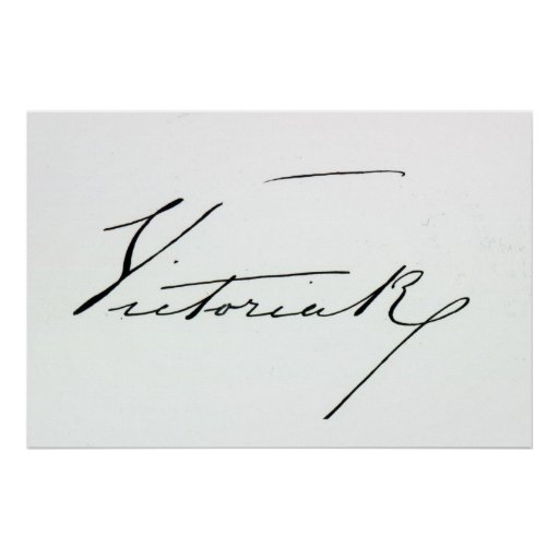 Signature of Queen Victoria (pen and ink on paper Posters