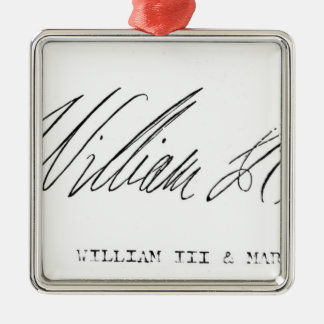 Signature of William III of England Silver-Colored Square Ornament