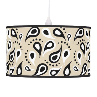 Signature Paisley Black White Beige Pattern Lamps