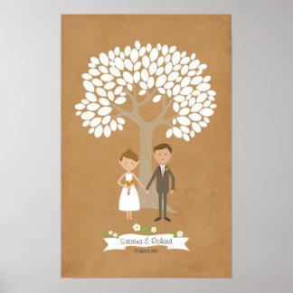 Signature Tree with Custom Couple Portrait Poster