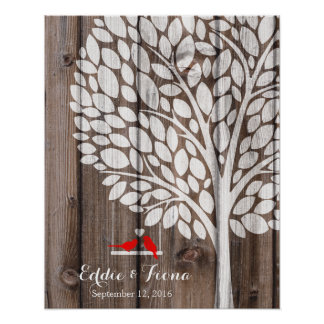 signature wedding guest book tree bird red wood poster