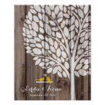 signature wedding guest book tree bird yellow wood poster