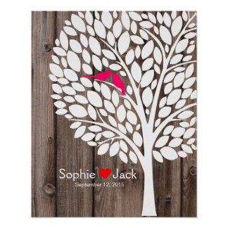 signature wedding guest book tree pink wood poster