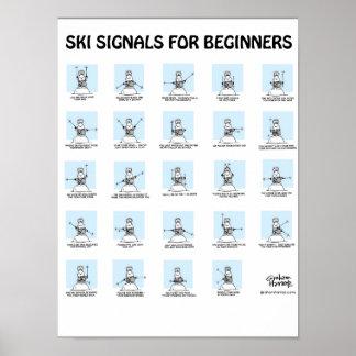 Signaux de ski pour l'affiche de débutants par