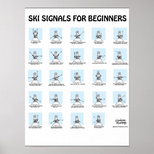Signaux de ski pour l'affiche de débutants par Gra