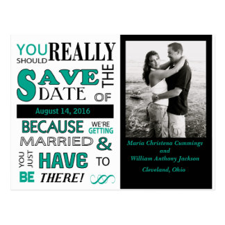 Signboard Save The Date  Postcard (Emerald)