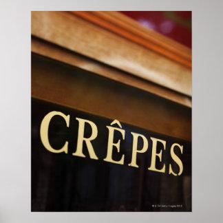 Signe de crêpes, Paris Poster