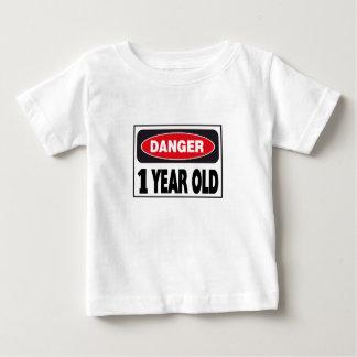 Signe de danger de 1 an t-shirt pour bébé