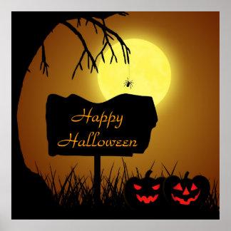 Signe de Halloween avec des citrouilles - affiche