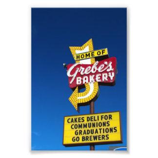 Signe de la boulangerie du grèbe - rétro signe au  photo