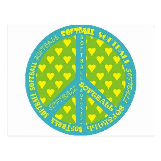 Signe de paix avec le base-ball dans le cadre carte postale