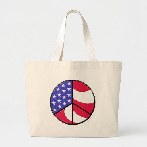 Signe de paix de drapeau américain sacs