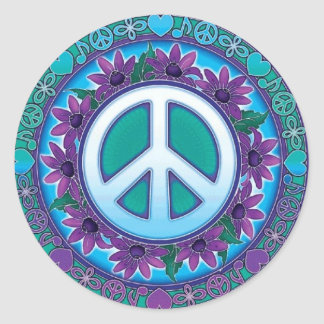 Signe de paix fleuri sticker rond