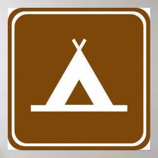 Signe de route de camping poster