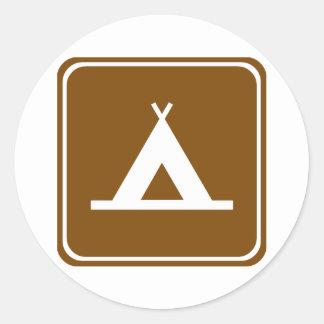 Signe de route de camping sticker rond