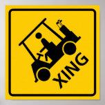 Signe de route de croisement de chariot de golf
