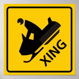 Signe de route de croisement de Snowmobile Affiche