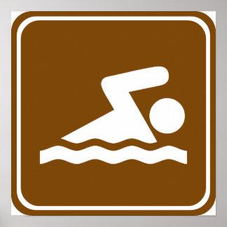 Signe de route de natation poster