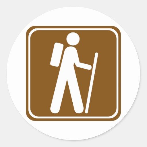 Signe de route de randonnée autocollant rond