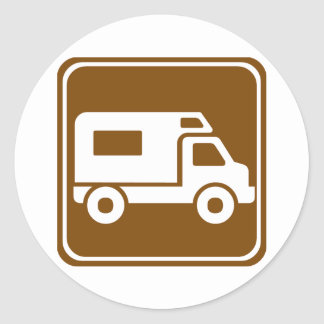 Signe de route de terrain de camping de rv sticker rond