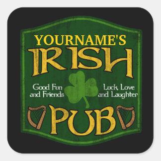 Signe irlandais personnalisé de Pub Sticker Carré
