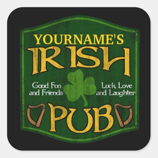 Signe irlandais personnalisé de Pub Stickers Carrés
