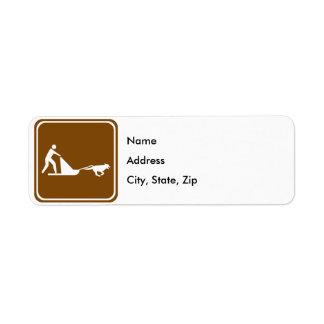 Signe sledding de route de chien étiquettes d'adresse retour