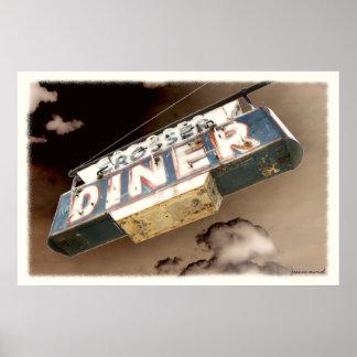 Signe vintage de wagon-restaurant affiche
