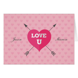 Signed and Dated Love U Customizable Greeting Card