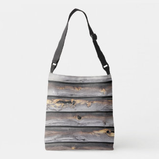 signed by the weather as old wood background crossbody bag