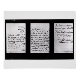 Signed letter, 1887 (pen and ink on paper) (b/w ph poster