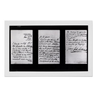 Signed letter, 1887 (pen and ink on paper) (b/w ph print