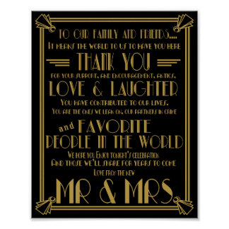 Signes de mariage de table de Merci d'art déco Poster
