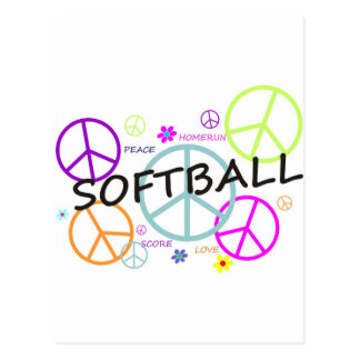 Signes de paix colorés par base-ball carte postale