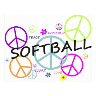 Signes de paix colorés par base-ball cartes postales