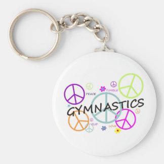 Signes de paix de gymnastique porte-clé rond