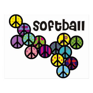 Signes de paix du base-ball remplis cartes postales