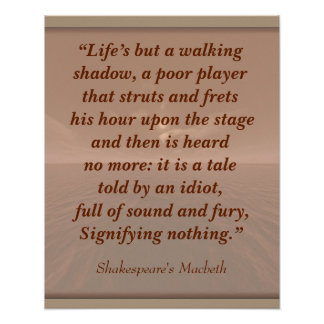 Signifying nothing -Shakespeare quote-art print