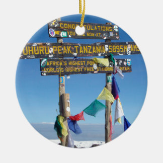 Signpost  on the  Summit of Kilimanjaro kenya Ceramic Ornament
