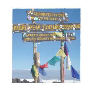 Signpost  on the  Summit of Kilimanjaro kenya Notepad