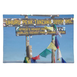 Signpost  on the  Summit of Kilimanjaro kenya Placemat