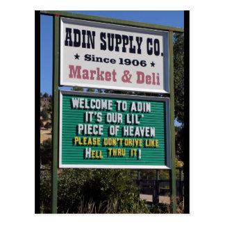 Signs in Adin, California Postcard