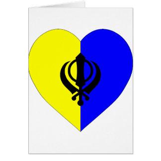 Sikh Flag Heart Card