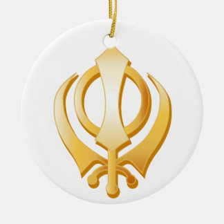 Sikh Symbol Round Ceramic Ornament