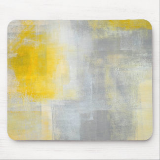 'Silence' Grey and Yellow Abstract Art Mouse Pad