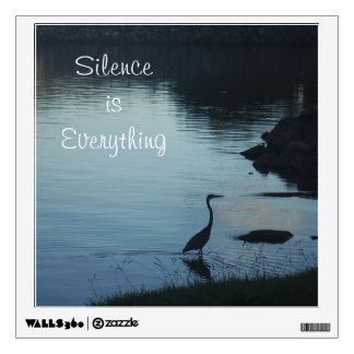 Silence is Everything, heron/ crane at sunset Wall Sticker