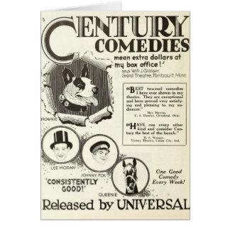 Silent movie animal actors 1922 greeting card