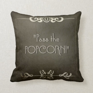 SILENT MOVIE  PASS THE POPCORN movie night Throw Pillow
