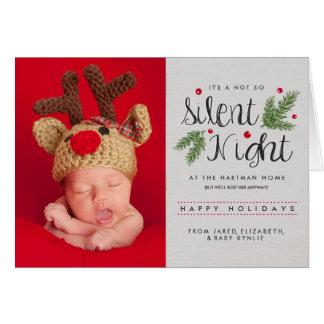 Silent Night   Birth Announcement Greeting Card
