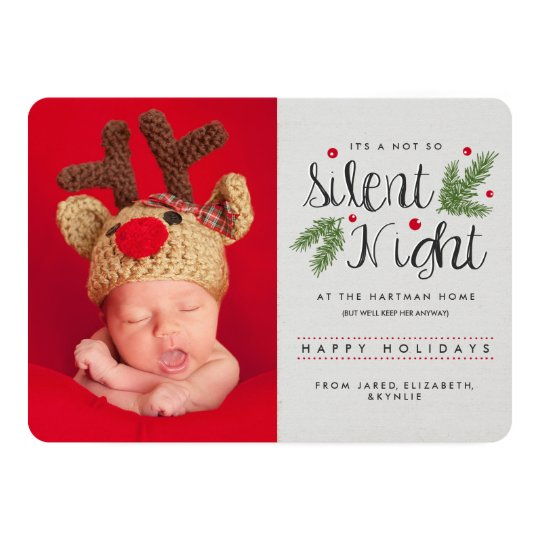 Silent Night Birth Announcement Holiday Card